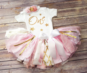 Gold First Birthday Bodysuit And Pink Tutu Glitter One Romper Baby Girl Outfit