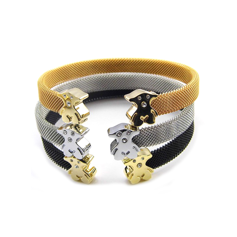 High Quality Colorful Stainless Steel Bangle With Small Bear, Steel/rose gold/gold/black;any colors can be choiced