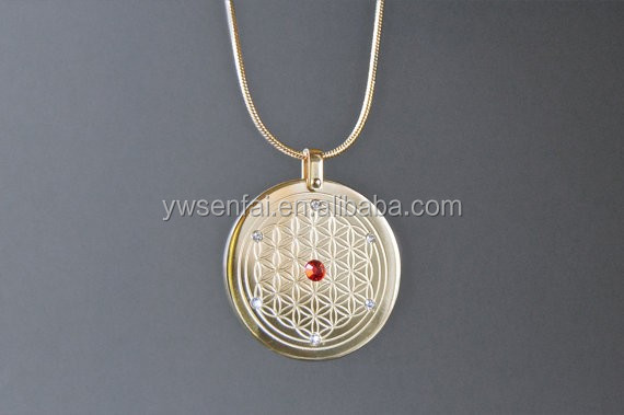New china products for sale zinc alloy flower of life pendant 16K gold plated reiki pendant for necklace