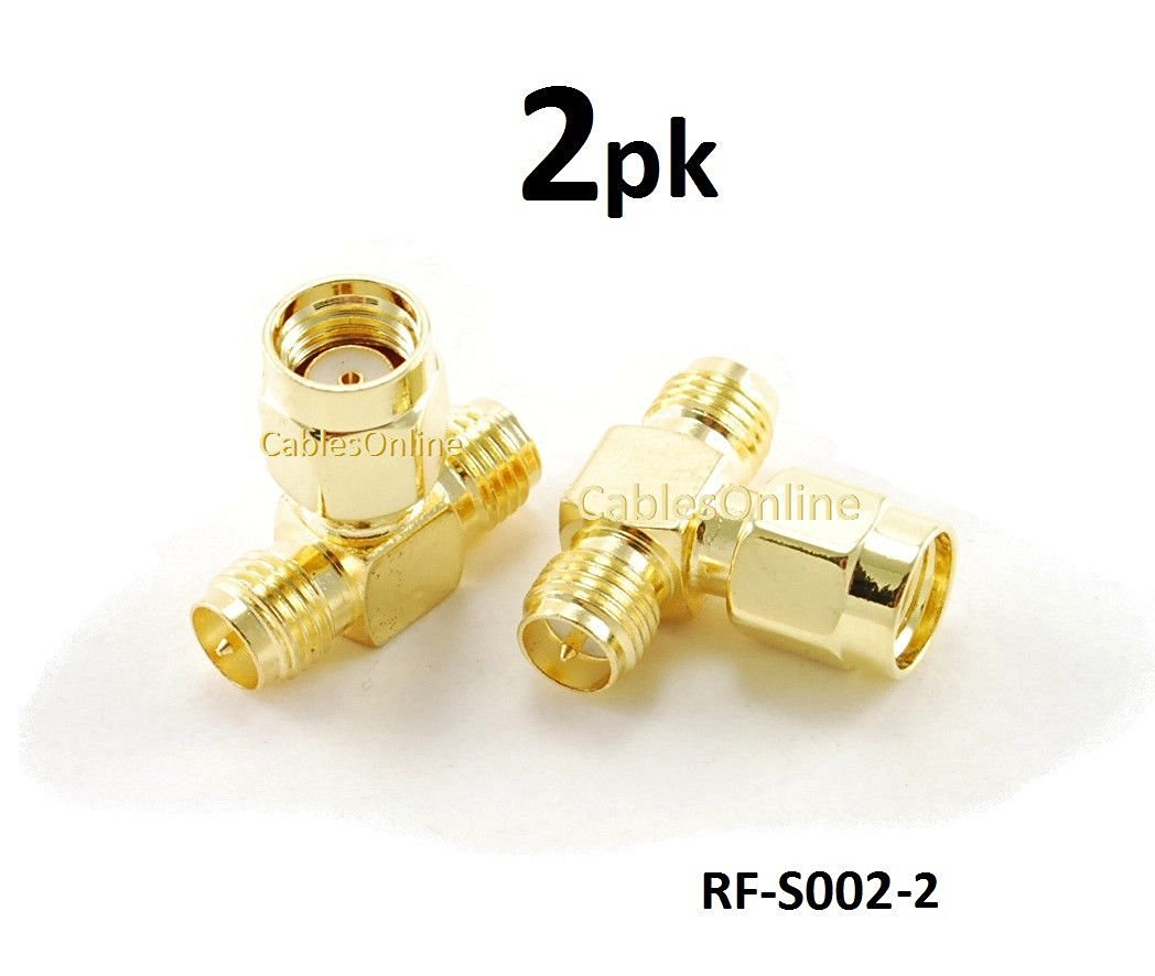 CablesOnline RP-SMA Jack-Plug-Jack 1 Male/2 Female RF Antenna T-Adapter (2 pack)(RF-S002-2)