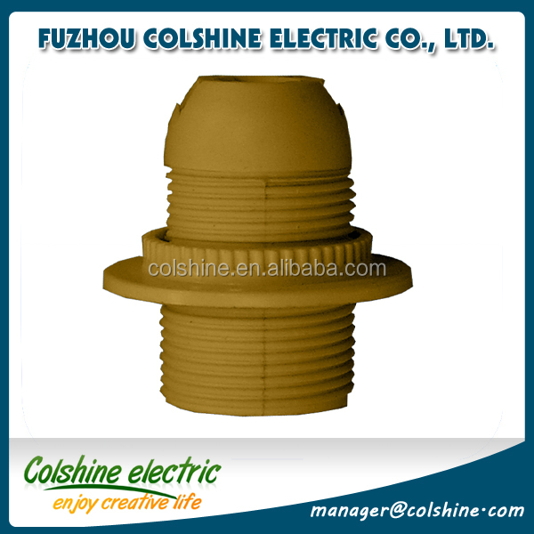 China lighting accessories CE certified E14 E27 full thread golden plastic lampholder with a ring
