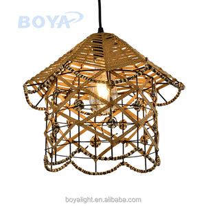 Skeleton pendant light housing shape wheat color hanging lamp