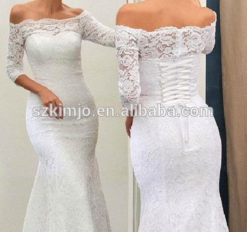 dbc0caab8ca Off Shoulder Lace Mermaid Wedding Dresses 2018 Elegant Simple Bridal Dresses  with Sleeves