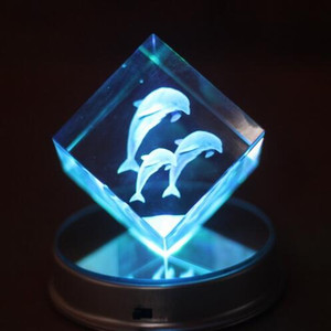 Wholesale Dolphin Animals Led Base 3d Laser engraving K9 Crystal Glass cube