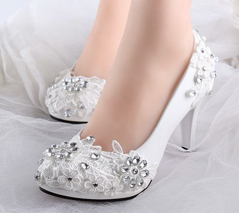 White Wedding Shoes With Rhinestones