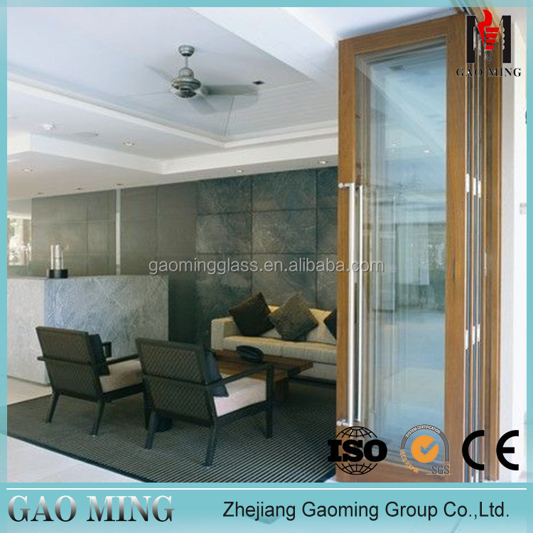 Exterior Wood Sliding Aluminum Bifold 12Mm Thick Toughened Glass For Door