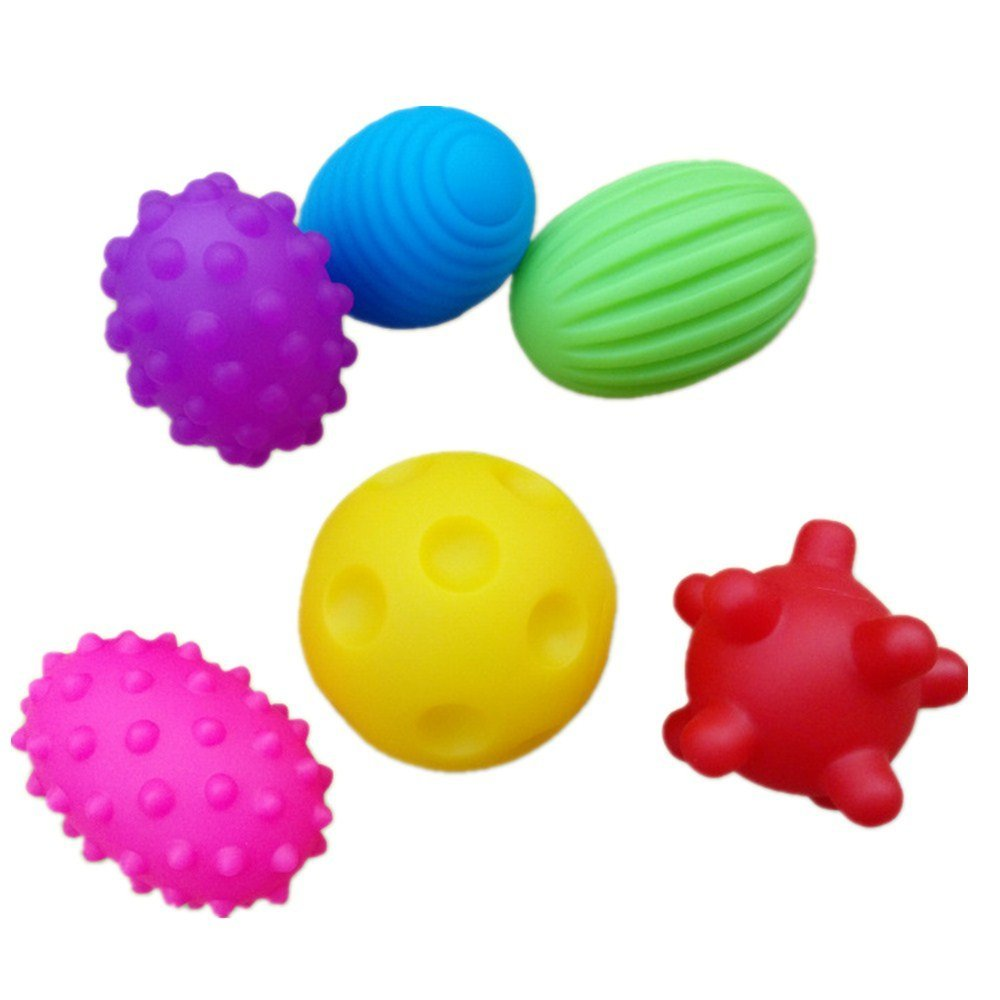 New Set of 6 Sensory Balls – Textured Ball Set for Baby and Toddlers – Teether Ball Toys – Encourage Baby's Sensory Development