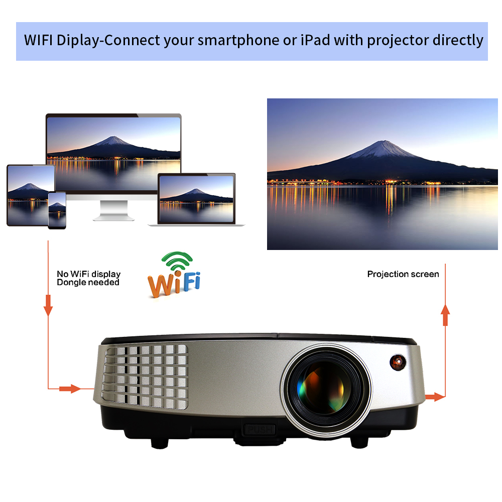 Cheap Price Wifi Home Theater Portable Led Lcd 3d Mini Projector For  Wireless Connect Phone Laptop - Buy Projector For Connect Phone,Wifi Mini