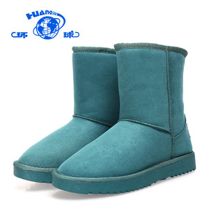 HUANQIU wholesale ladies dark green warm snow boots artificial short fur