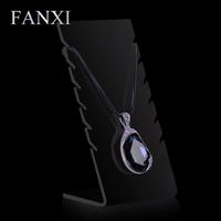 FANXI China Wholesale Fashion Glossy Black Acrylic Jewelry Display Stand Desktop Plexiglass Necklace Holder