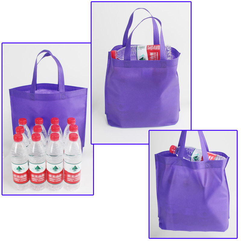 Purple eco friendly bag reusable logo shopping bags