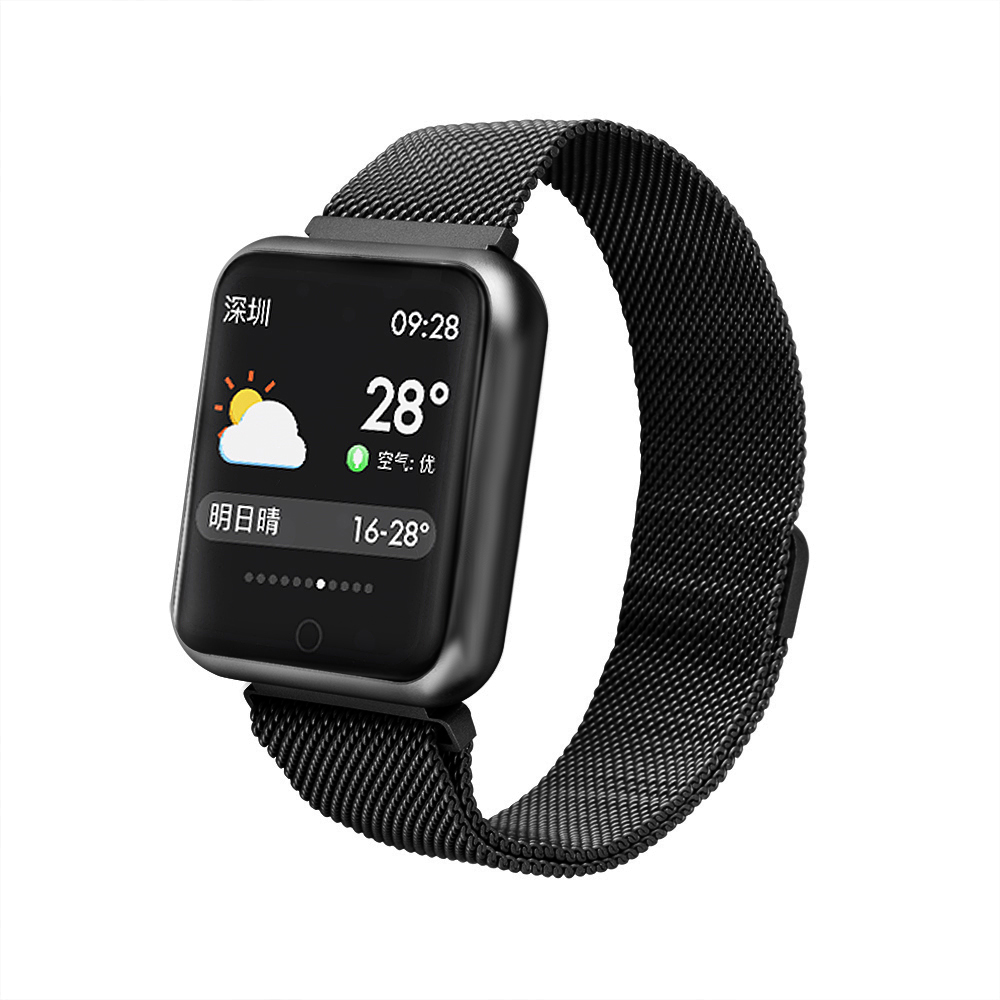 2019 new year gift P68 smart fitness watch with silicone and metal bracelets фото