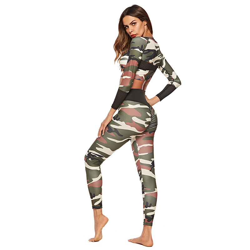 Ropa Deportiva Mujer Custom Sublimation Camouflage Print Long Sleeve Crop Top and Leggings Set Fitness Apparel Yoga Sets Women