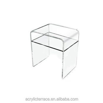Plain And Elegant Clear Transparent Acrylic Perspex Lucite Bedside Table  33x33 H:45 With Shelf