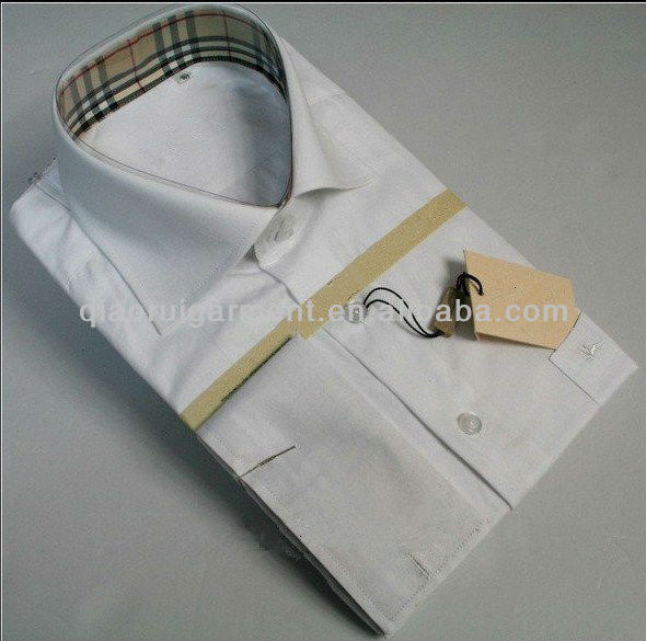 Men's england check patched collar double cuff dress shirt