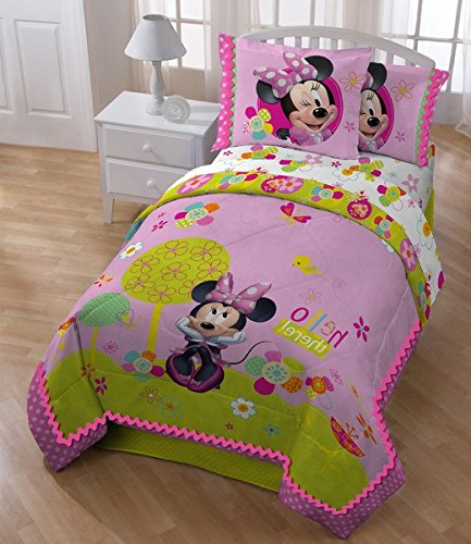 4 Piece Girls Disney Pink Minnie Mouse Comforter Twin Set, Cute Multi Floral Heart Polka Dots Bedding, Pretty Mini Bow Flower Themed, Girly Daisy Flowers Dot Zigzag Border, Green Light Purple Teal