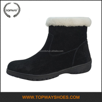Short fur genuine leather shoes women boots,womens snow boots