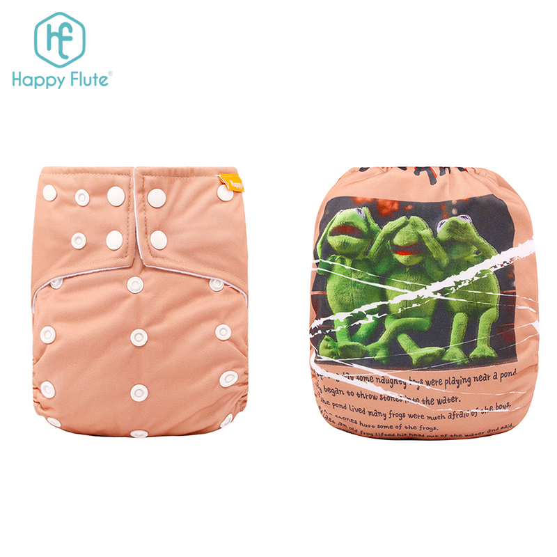 Happyflute Positioning Digital Print Breath Soft Baby Wizard Cloth Diapers Washable Reusable Baby Pants Diaper, Colorful