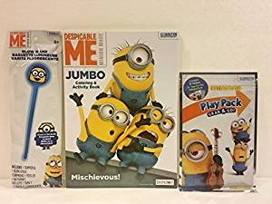 Minions Despicable ME Jumbo Coloring & Activity Book plus Play Pack Grab & Go - Includes Coloring Book, Crayons & Stickers and Glow Wand Gift Bundle