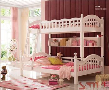White Color 100 Pine Wood Kids Bedroom Furniture Solid Bunk Bed