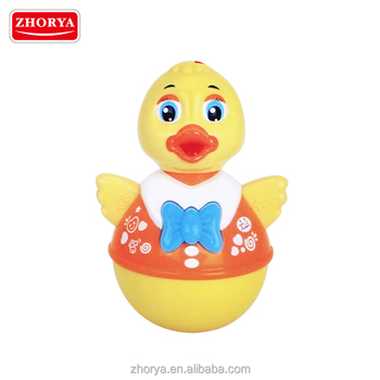 Zhorya battery powered operated luckly roly poly tumbler toy quacking duck toys for toddlers