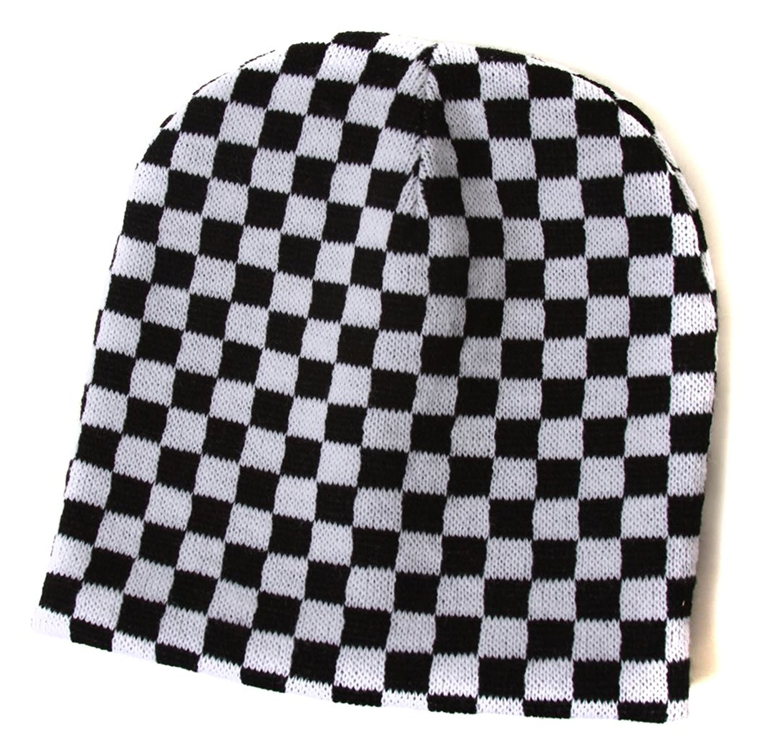 3f7929fe78b Get Quotations · Cuffless Checkered Beanie - Black and White