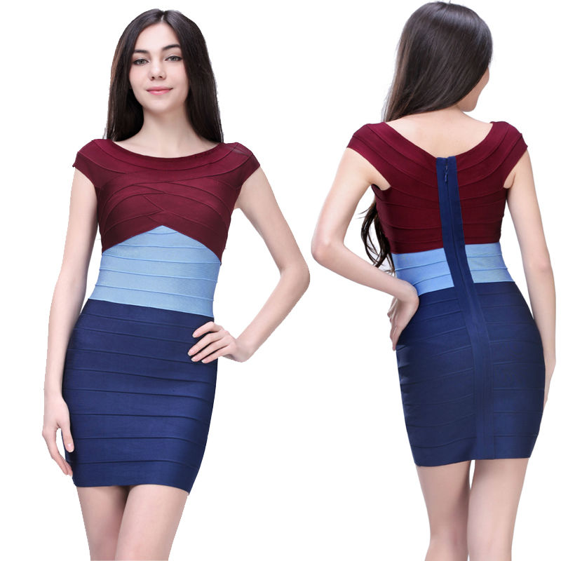 Cheap Latest Fashion Color Block Stretch Tight Short Fat Women ...