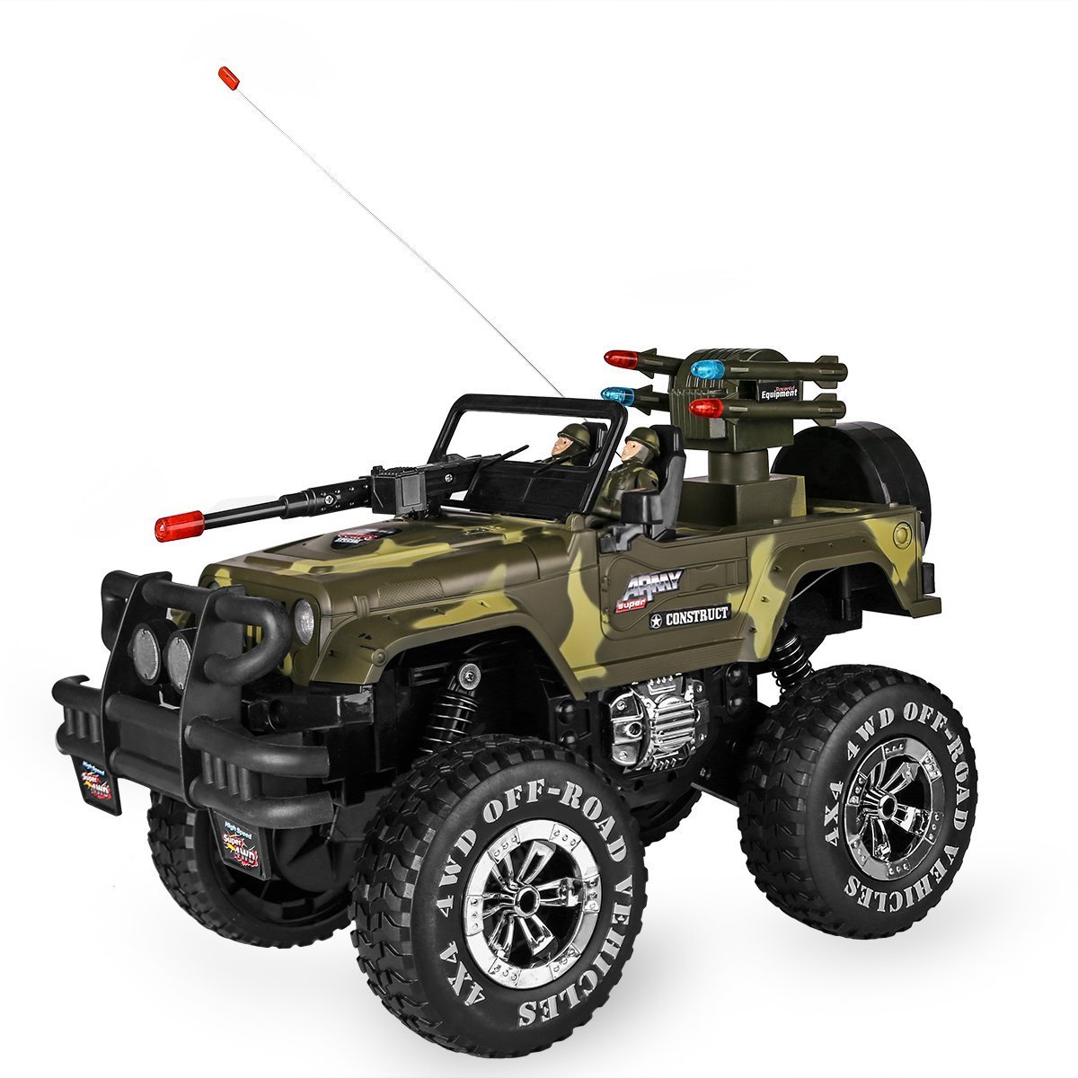 SZJJX 1:10 Remote Control Car 4WD Shaft Drive Truck Large Four-wheel Drive Remote Super Off-road racing Toy Radio Controlled rc Chargeable Off-road Rock Crawler(MYX-302 Vehicle Camouflage)