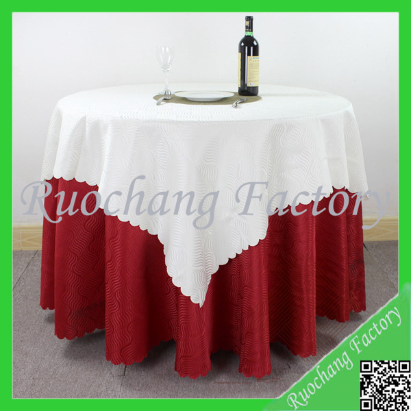 Customized 100% polyester material white color hotel party table cloth