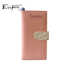 New 2016 Candy Colors Women Wallet Polka Dots Leather Zipper Wallet Multiple Cards Holder Clutch For Girls Women Standard Wallet