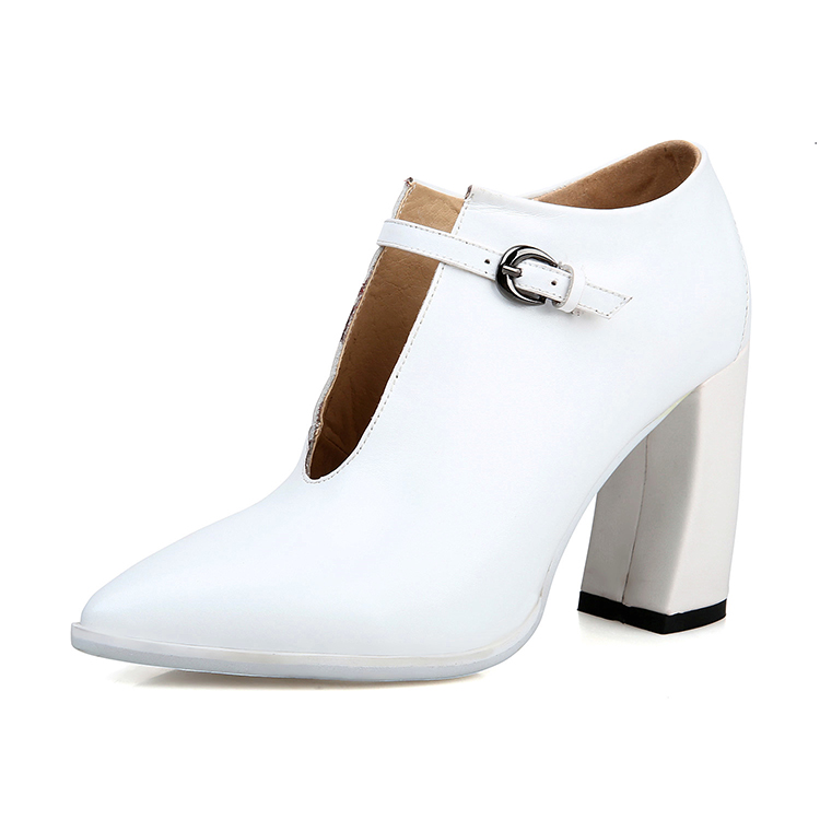 Ladies shoes pointed shoes with buckle big size women shoes