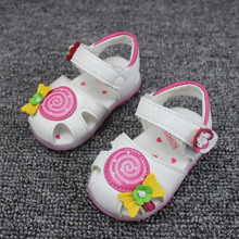 Size 21 25 2016 Summer Girls Leather Sandals Kids Closed Toe Cartoon Lollipop Bow Children Shoes