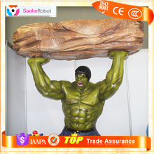 Customized Cartoon Figure Type Giant Muscle Man,FRP Green Cartoon Character the Hulk for Amusement Park/Playground