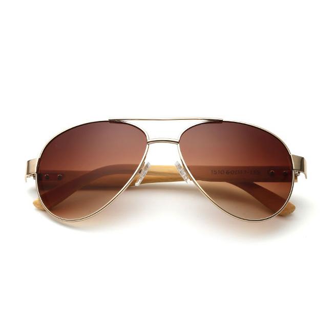 70307 Superhot Eyewear Classic Custom Logo Sun glasses Natural Bamboo temples Pilot Shades Sunglasses