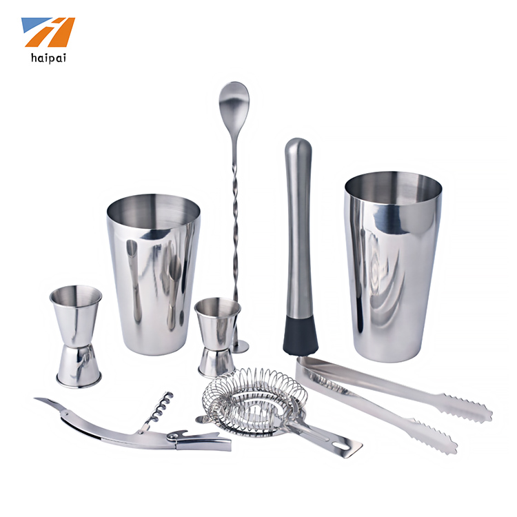 9-pieces Stainless Steel Wine 및 칵테일 바 Set-바 Kit Includes 에센셜 기물 툴
