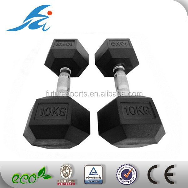 deluxe rubber coated Rubber Hex Dumbbell