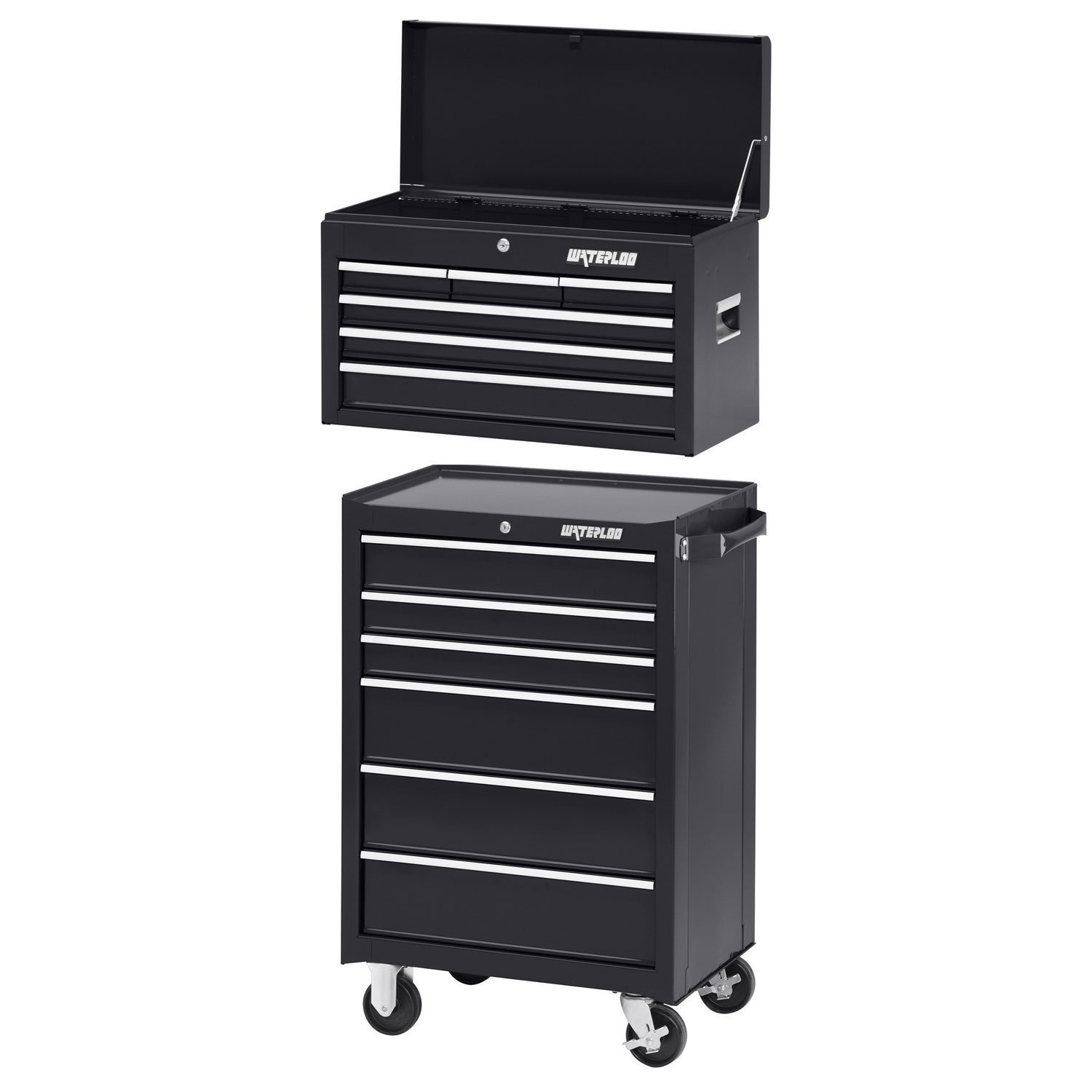 Waterloo WCH-266BK Series 6-Drawer Chest with WCA-266BK Cabinet, Caster/Liners