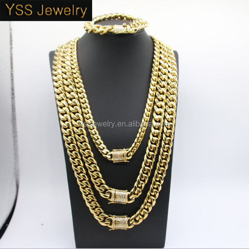 PVD Plating Diamond Clasp New Gold Cuban Link Chain Design for Men, 14K Men's Gold Cuban Link Chain Necklace
