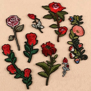 wholesale computer embroidered rose flower and other flower patches