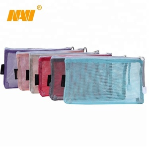 muti-color Mesh Pencil Pouch Zipper Pencil Case Pen Bag for School Office Cosmetic Makeup Organization
