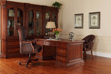 Royal Palace Study Room Furniture/Wooden Hand Carved Executive Desk/Nut-brown Painted French Writing Desk