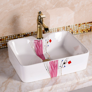 China Manufacture Moroccan Commercial Ceramic Pink Bathroom Sink