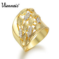 Newest Ring Gold Color Irregular Rings for Woman Rhinestone Hollow Out Cocktail Party Rings Female Egyptian Wide Size Rings