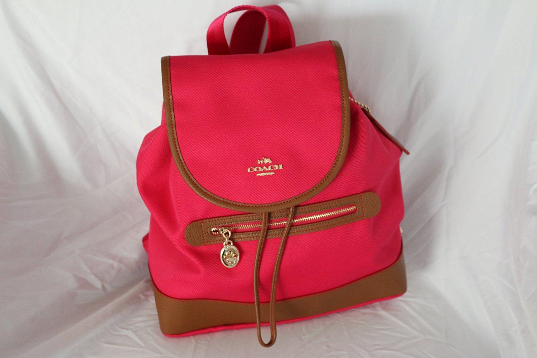 Get Quotations · Coach Sawyer Canvas Backpack Handbag Ruby F37240 f75c26e35a774