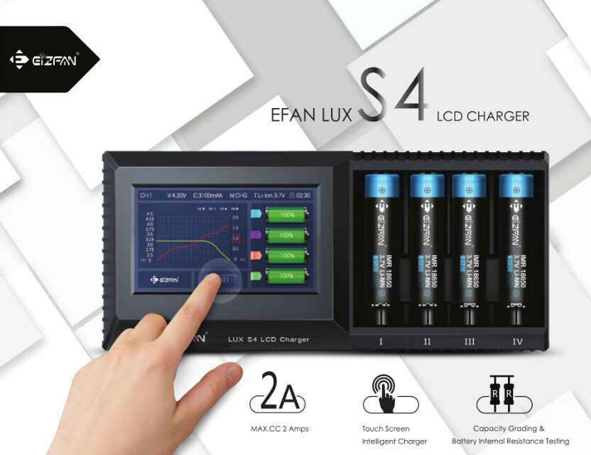 Efan 2018 New Products LUX S4 Touch Screen LCD 18650 Rechargeable Li-ion Battery Universal Charger For aa aaa battery