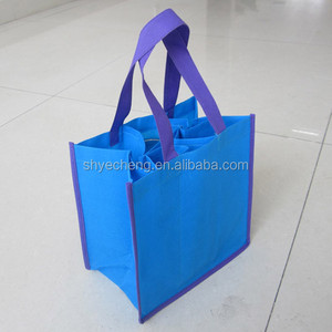 polypropylene foldable recycle customized high quality non woven win bag for 6 bottle