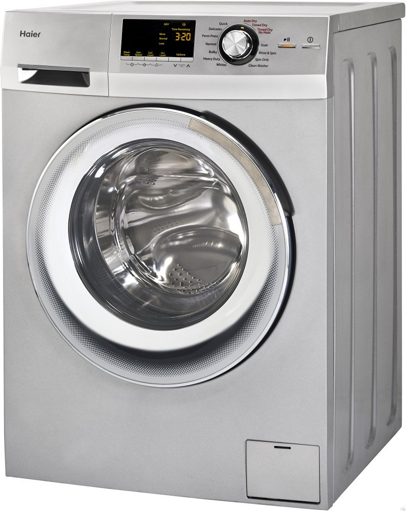 Haier 24-Inch Wide Front Load Washer And Dryer Combination, Silver   HLC1700AXS
