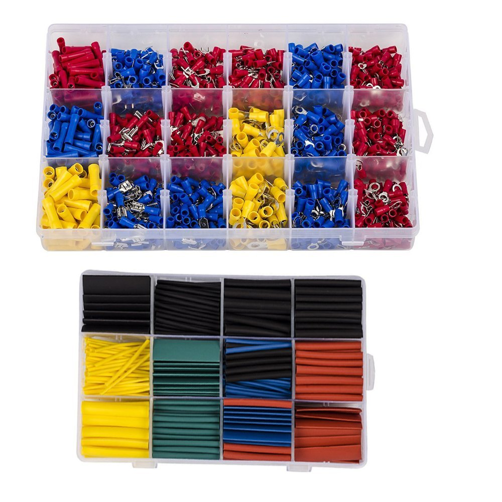 HIFROM 480pcs Insulated Terminals Electrical Crimp Connector with 530Pcs Heat Shrink Tubing£¬Mixed Assorted Lug Kit Insulated Spade Wire Connector Crimp Terminal Spade Ring Kit