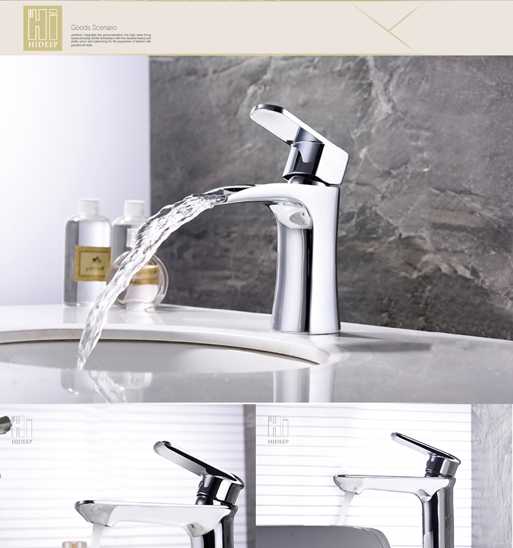 HIDEEP bathroom cold and hot water tap brass Chrome basin faucet