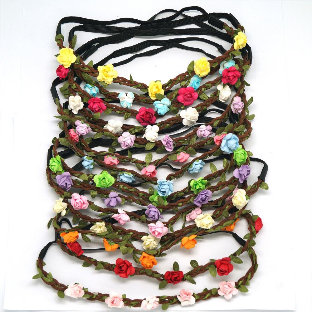 Fashion Women Bride Flower Headband Bohemian Style Rose Flower Crown Hairband Ladies Elastic Beach Hair Accessories